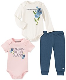 Baby Girls 3-Pc. Logo Bodysuits & Pants Set
