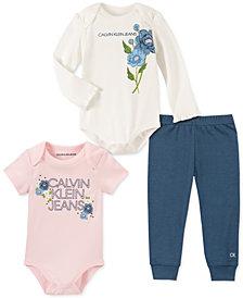 Calvin Klein Baby Girls 3-Pc. Logo Bodysuits & Pants Set