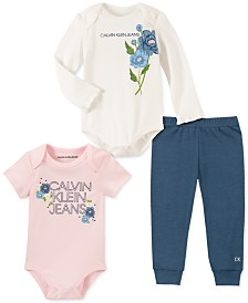 Calvin Klein Baby Girls 3-Pc. Logo Bodysuits & Pants Set