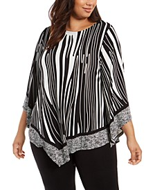 Plus Size Printed Point-Hem Top, Created For Macy's