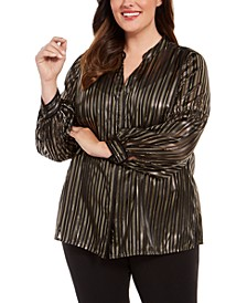 Plus Size Striped Split-Neck Top, Created For Macy's