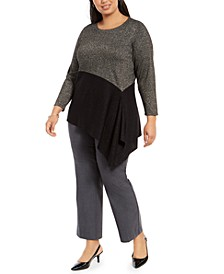 Plus Size Colorblocked Asymmetrical Sweater, Created For Macy's