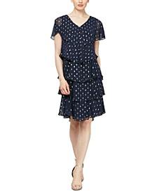 Polka-Dot Tiered Shift Dress