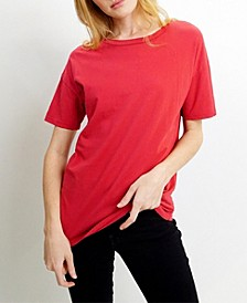 Womens Cotton Short-Sleeve Basic Crew-Neck Tee