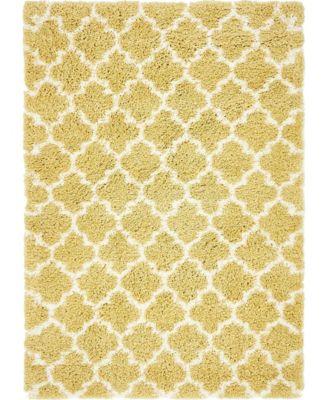 Fazil Shag Faz4 Yellow 4' x 6' Area Rug