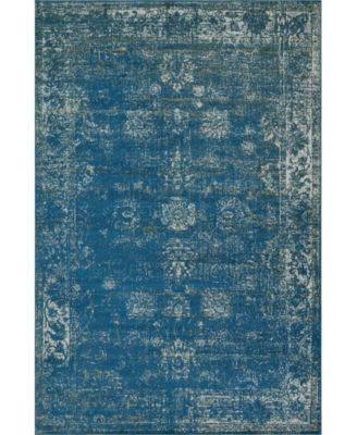 Basha Bas1 Blue 2' x 13' Runner Area Rug
