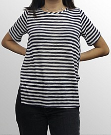 Womens Stripe Button Back Short Sleeve Hi Lo Tee