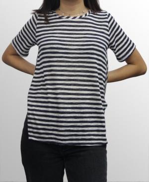 1804 Womens Stripe Button Back T-Shirt