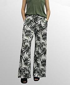 Womens Leaf Print Wide Leg Pocket Pants