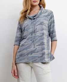 COIN 1804 Womens Camo Print Cowl Neck Drawstring 3/4 Sleeve Top