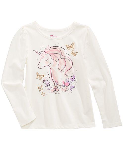 Epic Threads Little Girls Unicorn Flower T-Shirt, Created For Macy's