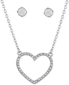 "Crystal Heart Pendant Necklace & Stud Earring Gift Set, 16"" + 2"" extender"