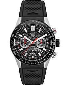 Men's Swiss Automatic Chronograph Carrera Black Perforated Rubber Strap Watch 45mm