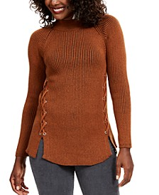 Mock Neck Lace-Up Ribbed Knit Sweater, Created for Macy's