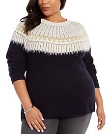 Plus Size Beaded Fair Isle Sweater, Created For Macy's