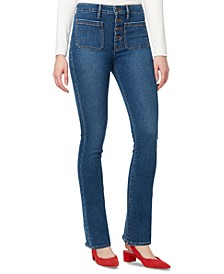 Button-Front Bootcut Jeans