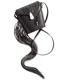 Fringe Lock Leather Bucket Bag