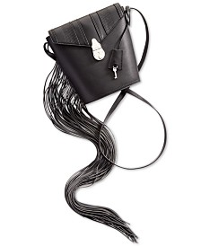 Calvin Klein Fringe Lock Leather Bucket Bag