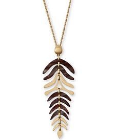 """Lucky Brand Gold-Tone Autumn Leaves Pendant Necklace, 28"""" + 2"""" extender"""