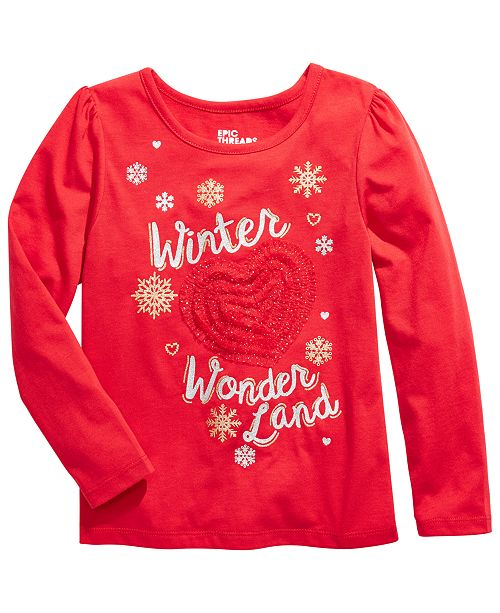 Epic Threads Toddler Girls Winter Wonderland Embellished T-Shirt, Created For Macy's