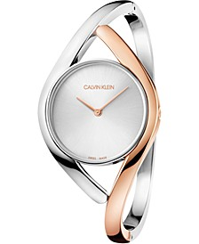 Women's Party Two-Tone PVD Stainless Steel Bangle Bracelet Watch 28mm