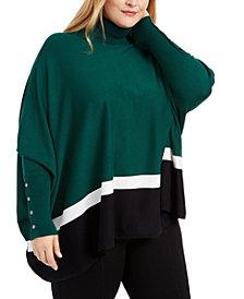 Alfani Plus Size Colorblock Poncho, Created For Macy's