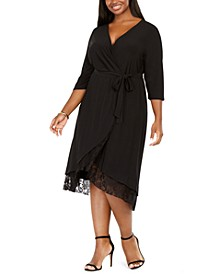 Plus Size Surplice Lace-Trim Dress