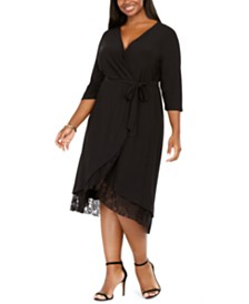 Love Squared Plus Size Surplice Lace-Trim Dress