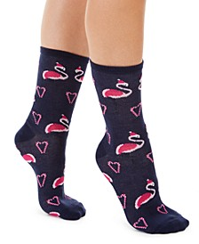 Women's Flamingo Crew Socks, Created For Macy's