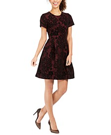 Burnout Lace Fit & Flare Dress