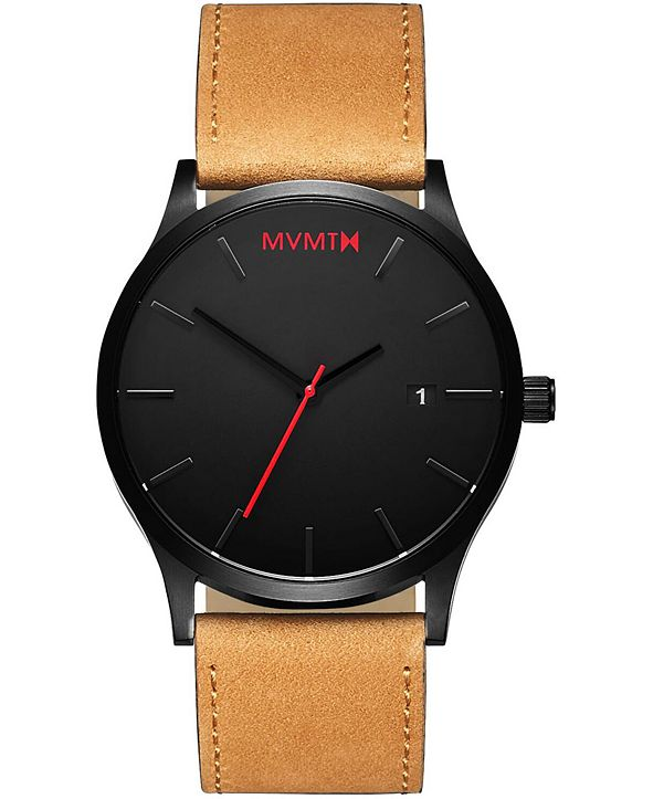 MVMT Men's Classic Tan Leather Strap Watch 45mm