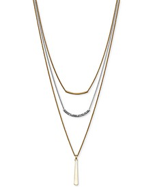 "Two-Tone Pavé Bar Convertible Layered Pendant Necklace, 18""  + 3"" extender"
