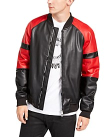 Men's Faux Leather Colorblock Bomber Jacket