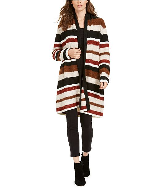 INC International Concepts INC Petite Striped Sequinned Cardigan, Created For Macy's