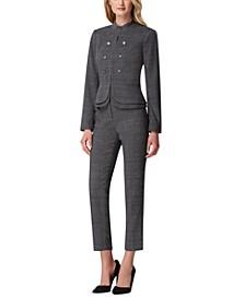 Plaid Double-Peplum Jacket & Plaid Ankle Pants