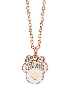 "Minnie Mouse Crystal Pendant Necklace in Rose Gold-Plate, 16"" + 2"" extender"
