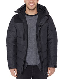 Men's Water-Resistant Quilted Colorblocked Hooded Ski Jacket