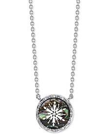 "Frozen 2 Snowflake Abalone Pendant Necklace in Fine Silver Plate, 16"" + 2"" extender"