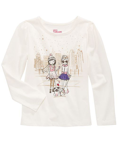 Epic Threads Little Girls City Friends Glitter T-Shirt, Created For Macy's
