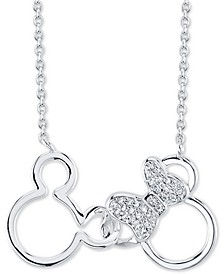 "Mickey and Minnie Crystal Pendant Necklace in Silver-Plate, 16"" + 2"" extender"