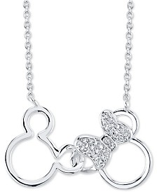 """Disney Mickey and Minnie Crystal Pendant Necklace in Silver-Plate, 16"""" + 2"""" extender"""