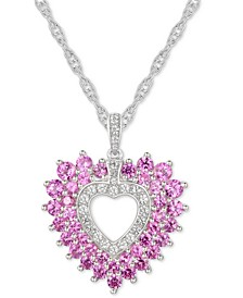 "Pink Sapphire (2 ct. t.w.) and Diamond (1/5 ct. t.w.) Heart 18"" Pendant Necklace in 14k White Gold"