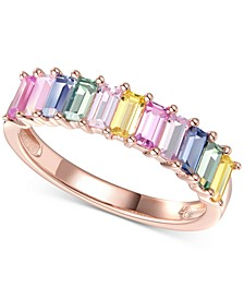 Lab-Created Multi-Sapphire Baguette Ring (1-5/8 ct. t.w.) in 14k Rose Gold-Plated Sterling Silver
