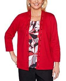 Well Red Layered-Look Studded Top