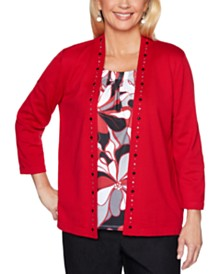 Alfred Dunner Well Red Layered-Look Studded Top