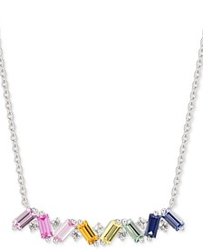 "Lab-Created Multi-Sapphire Baguette 15-3/4"" Pendant Necklace (1-1/3 ct. t.w.) in Sterling Silver"