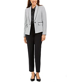 Shawl-Collar Straight-Leg Pants Suit