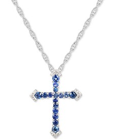 "Sapphire (1/2 ct. t.w.) & Diamond Accent Cross 18"" Pendant Necklace in Sterling Silver"