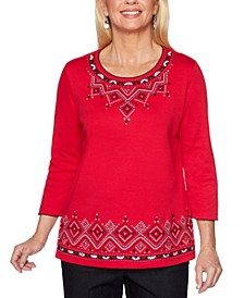 Well Red Diamond-Embroidered Knit Top