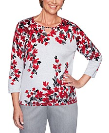 Well Red Falling Flowers Cotton Sweater